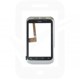 Genuine HTC Wildfire S Silver Digitizer / Touchscreen with Frame - 74H01936-00M