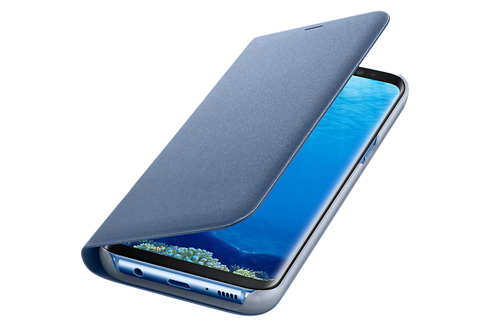 official samsung galaxy s8 plus led flip wallet cover blue through this