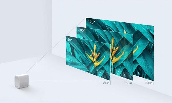 Xiaomi Mi Smart Compact Projector heijastettavan kuvan koko