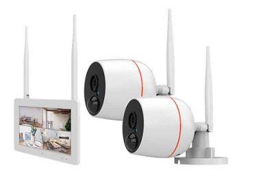 """Langaton valvontakamerajärjestelmä 7"""" kosketusnäytöllisellä verkkotallentimella"""