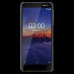 Nokia 3.1:n musta/kromi-värivaihtoehto