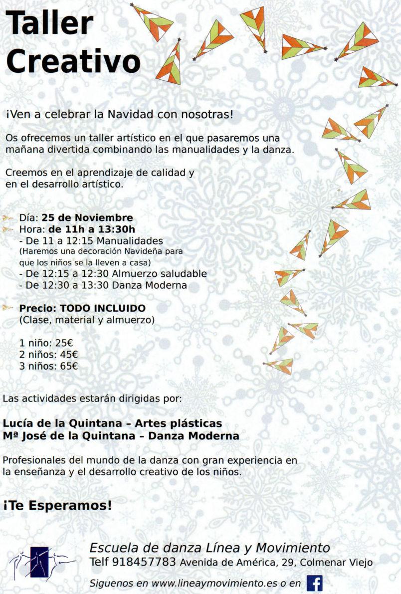 Cartel taller creativo navidad de danza y manualidades
