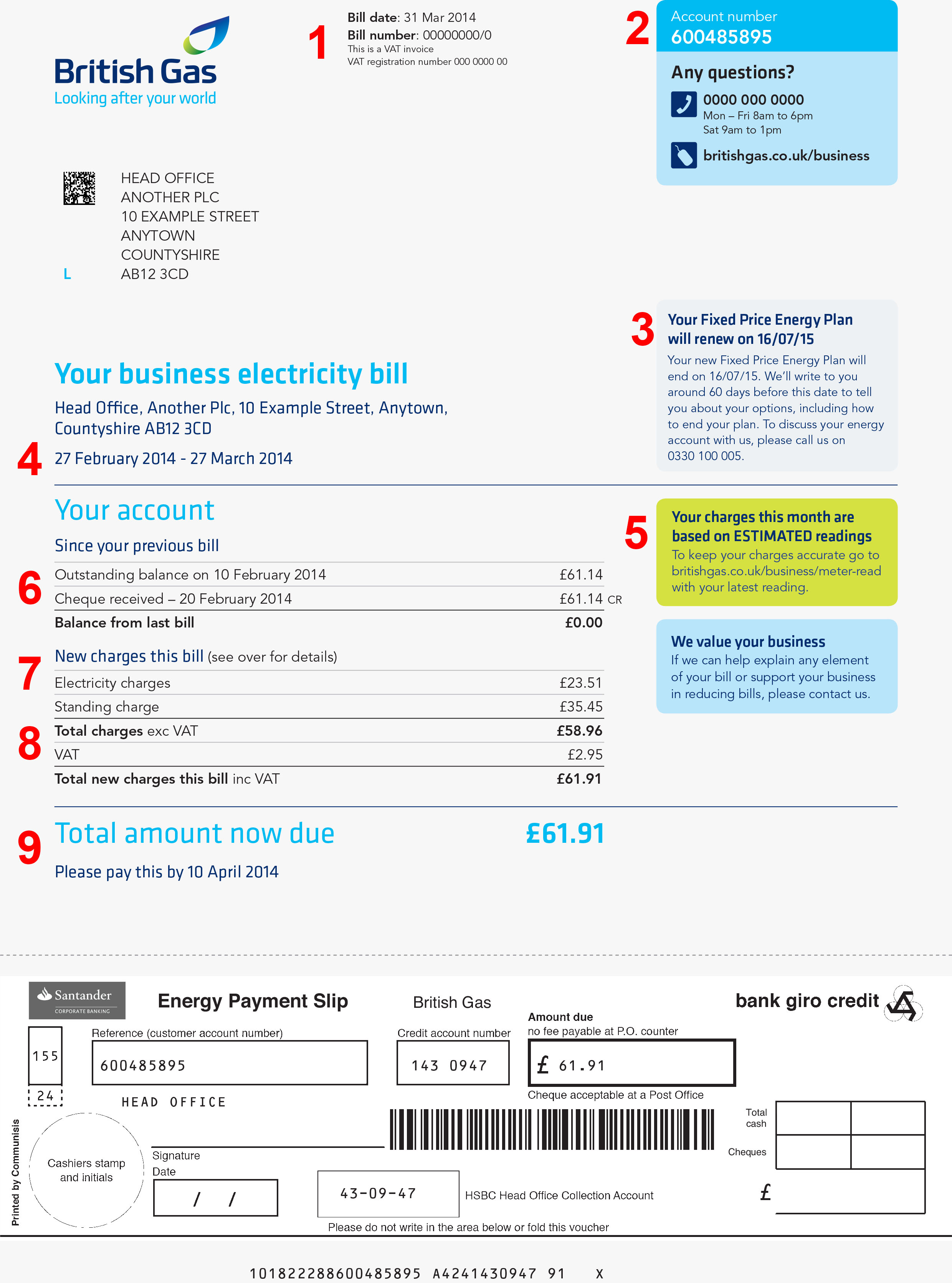 British Gas Business Energy Bill
