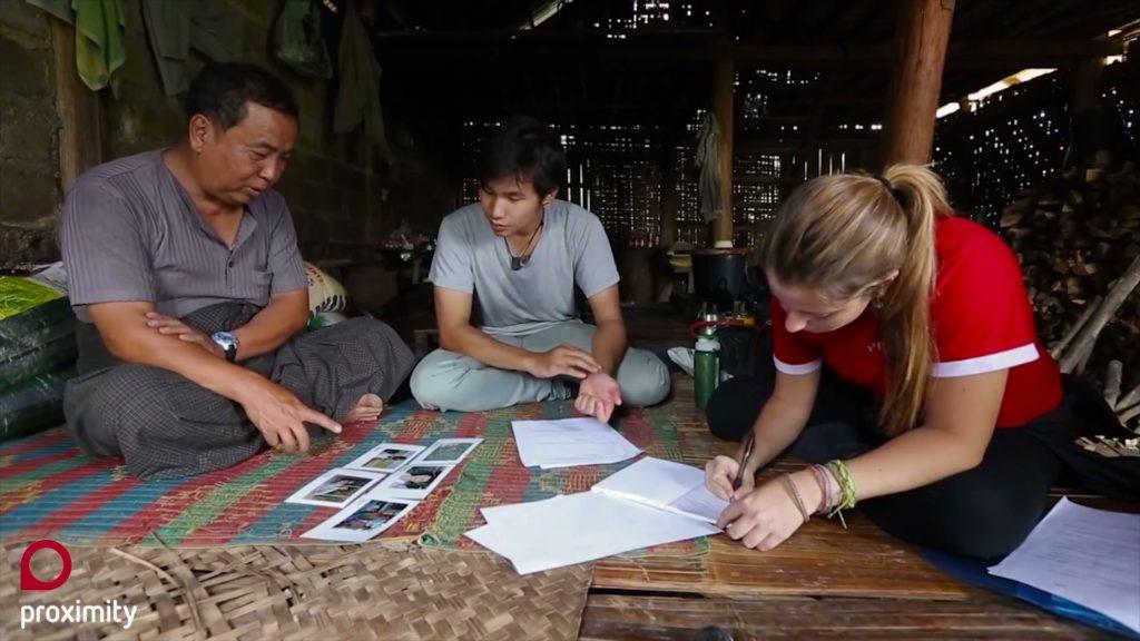 L'équipe de Proximity Designs en discussion avec un fermier