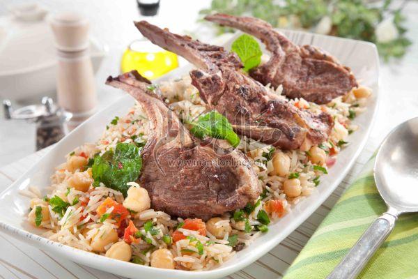 ريش غنم بالأرز والخضراوات