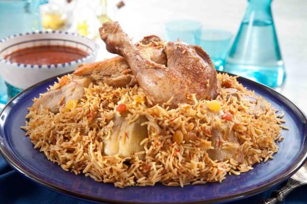 أرز بالدجاج والباذنجان