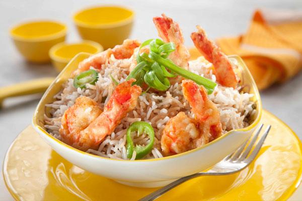 أرز بالروبيان المقلي