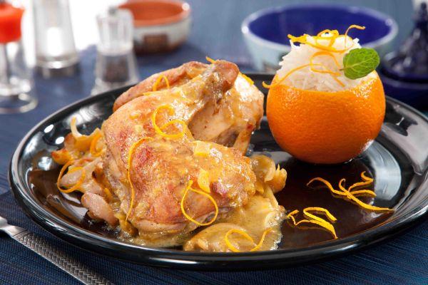 دجاج بالكمون والبرتقال