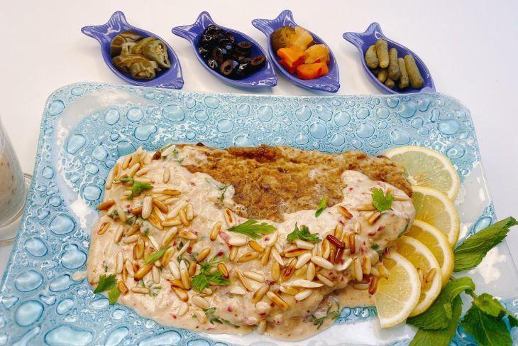 سمكة حرة طرابلسية بالطحينة