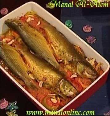 طاجن السمك بالخضروات