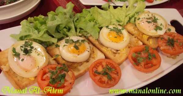 بيض عيون في حلقات البصل