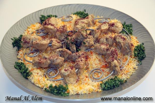 شيش طاووق مع الرز