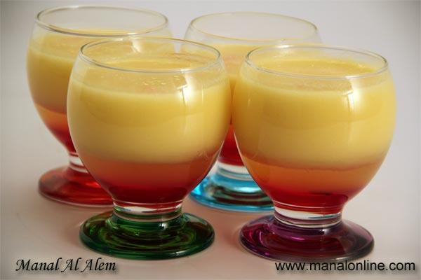 عصير الأناناس مع البرتقال وشراب الورد