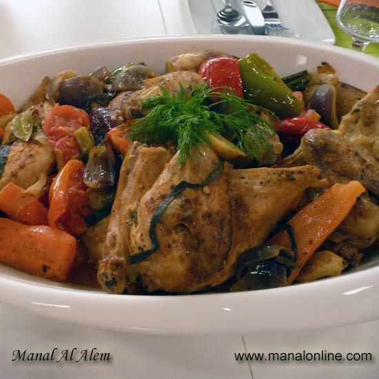 صينية الدجاج والخضروات مع جوز الهند