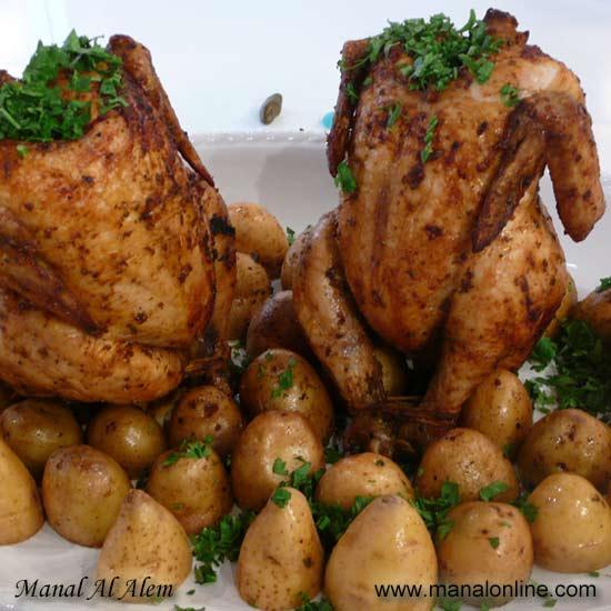 روستو الدجاج مع البطاطس المشوية