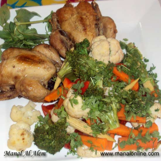 دجاج وخضراوات على البخار