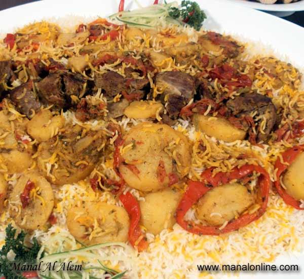 مقلوبة اللحم بالأرز البسمتي