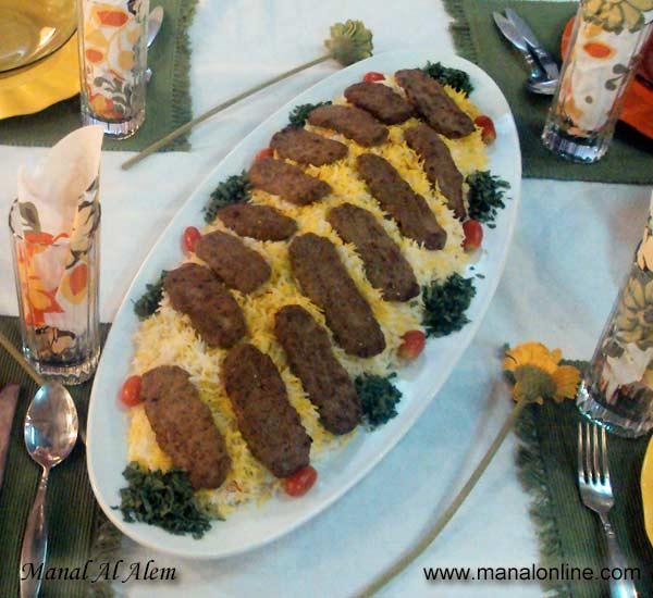 كباب مع الأرز البسمتي بالزعفران