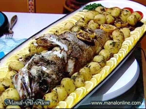 سمك مشوي مع البطاطس
