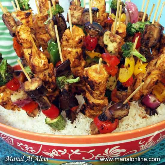 دجاج تيكا مع الخضروات المشوية