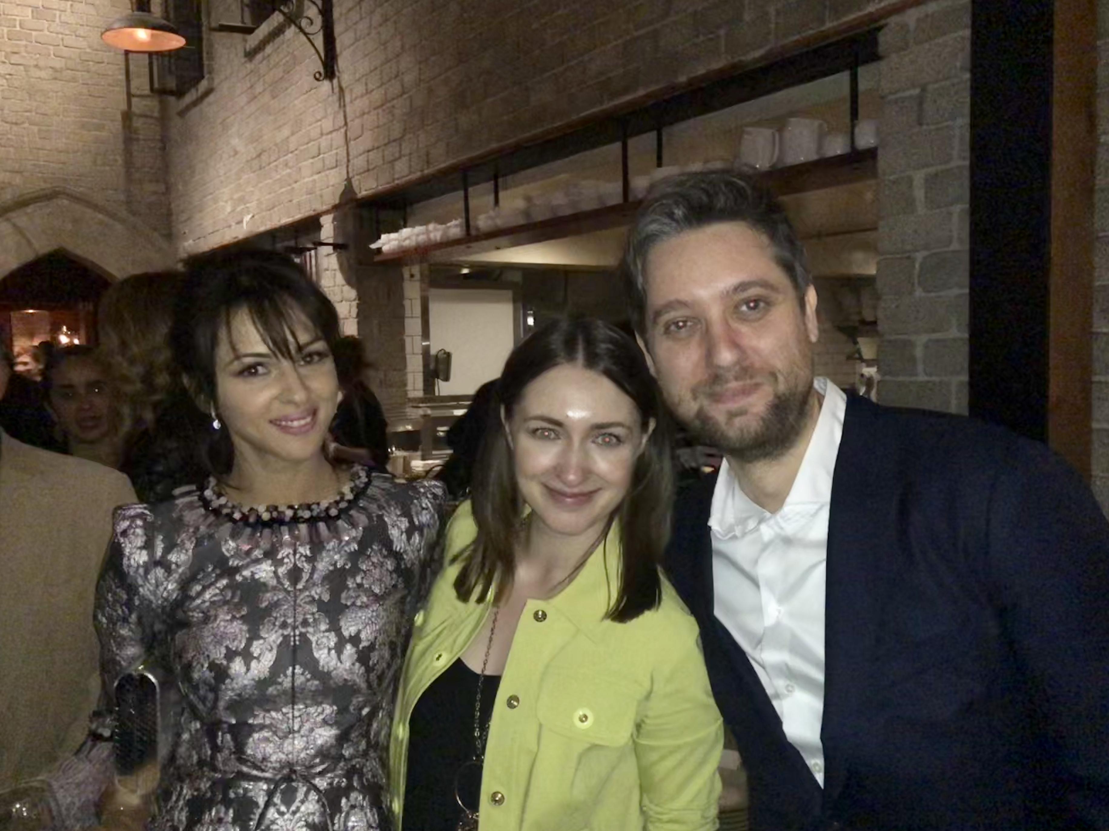 Sonya Belousova & Giona Ostinelli with The Romanoffs actress Annet Mahendru