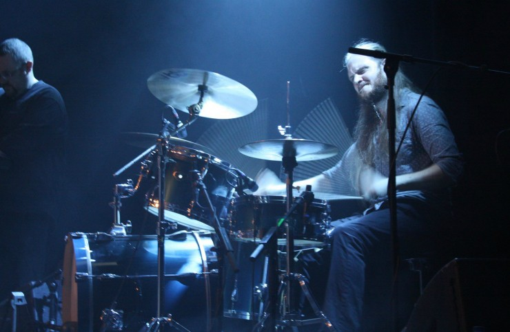 Drummer Tom Atherton plays music in Stockholm, Sweden