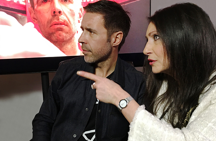 Paddy Considine on the Journeyman set with Pia Di Ciaula