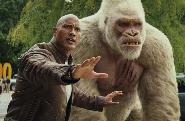 Dwayne Johnson and Jason Liles in movie Rampage