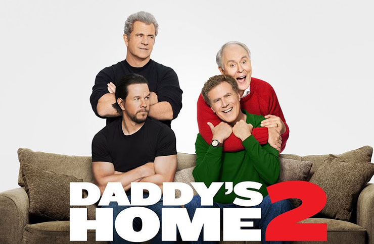 Daddy's Home 2 actors Will Ferrell, Mark Wahlberg, John Lithgow and Mel Gibson