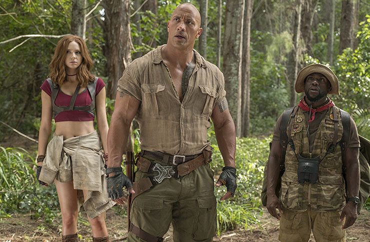 Dwayne Johnson and the Jumanji: Welcome to the Jungle cast