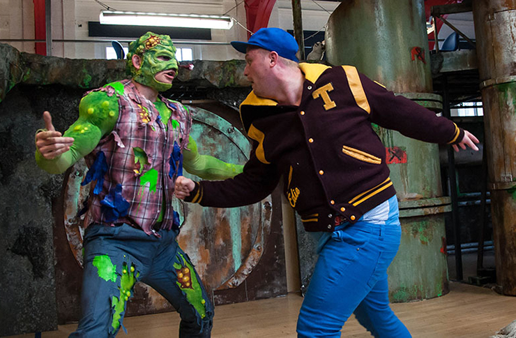 The Toxic Avenger cast rehearsing at the King's Head Theatre