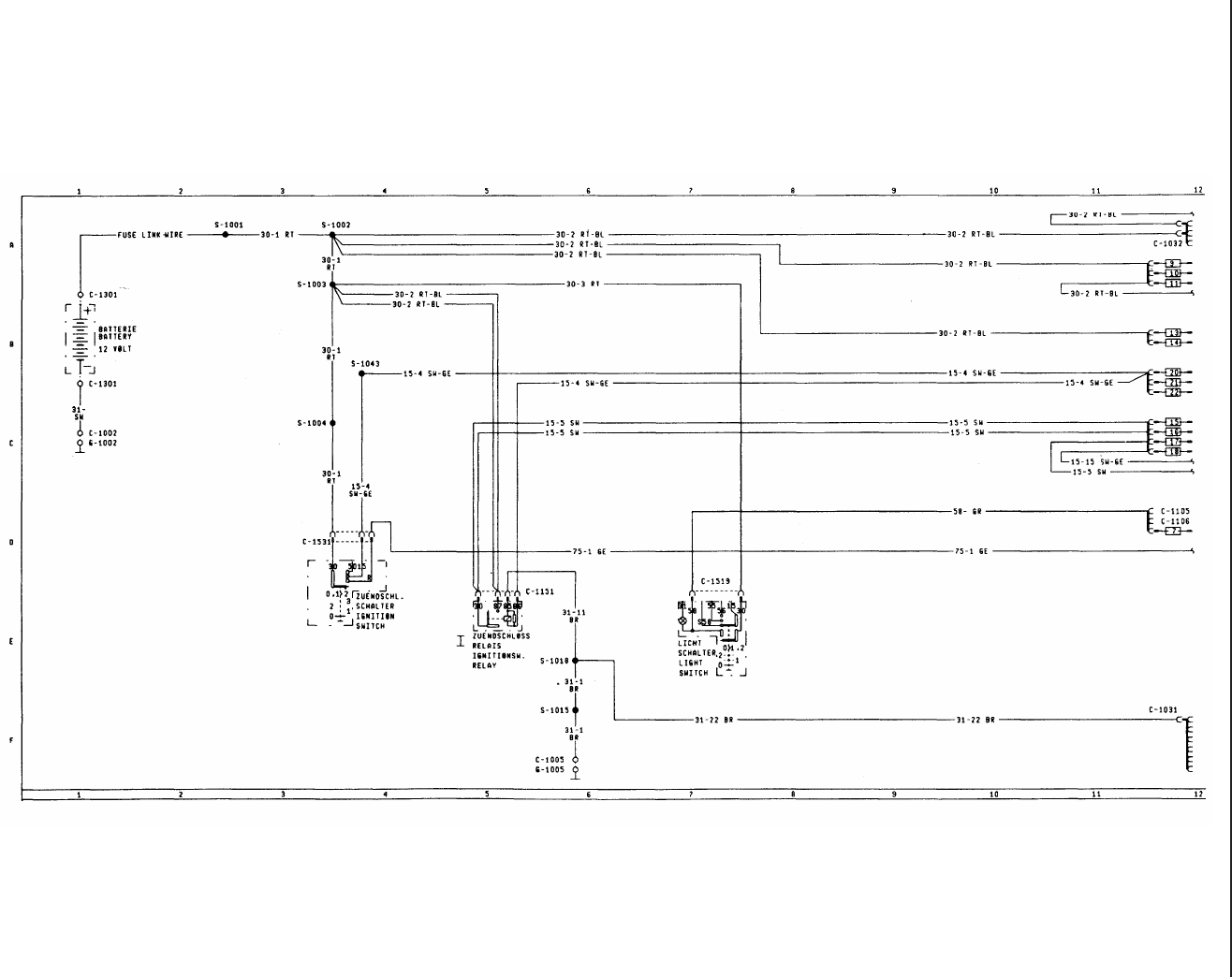 WD?2 Wiring diagrams. Diagram 2. Power distribution. Ford Scorpio