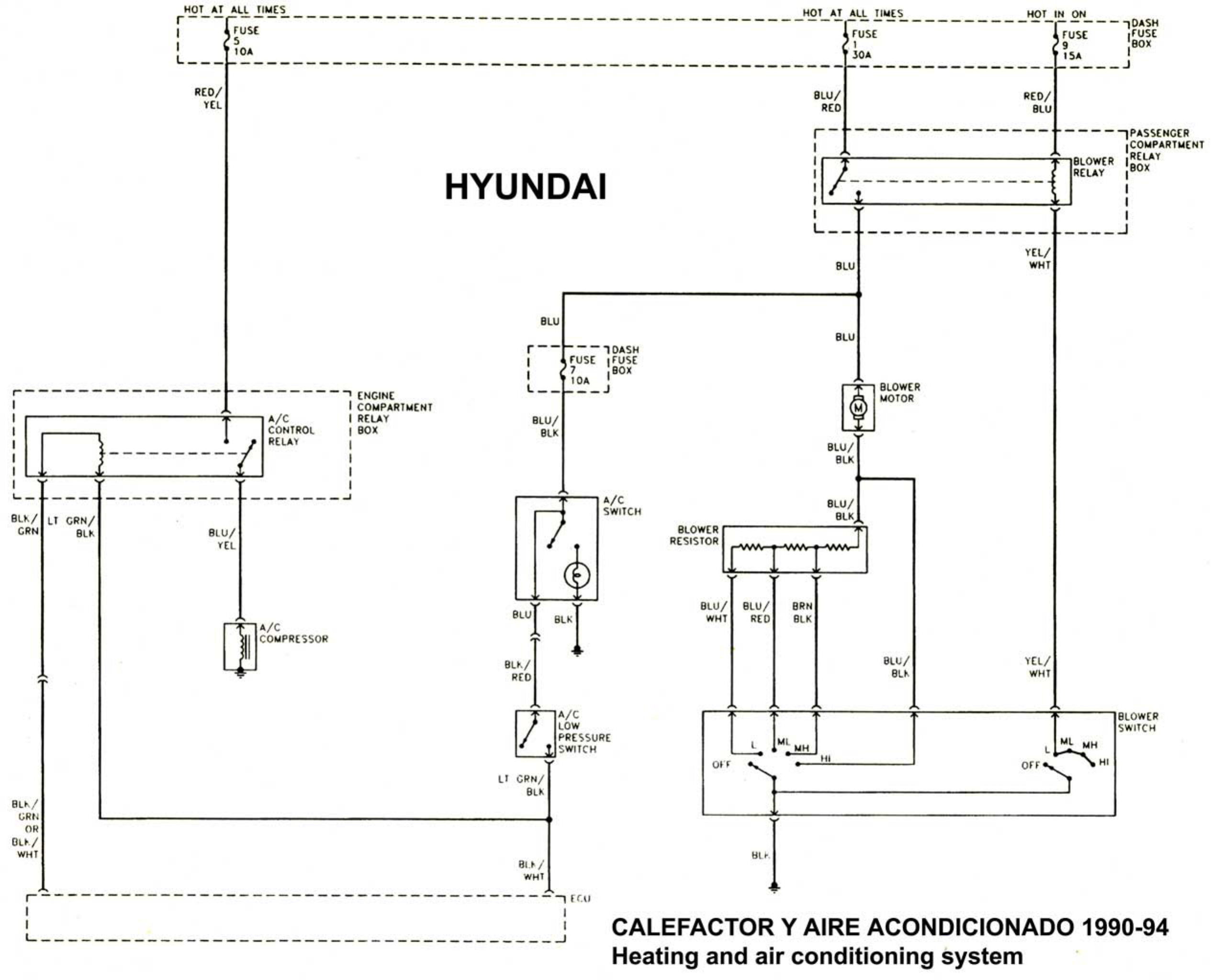 hyundai excel 1992 misc document wiring diagram spanish pdf rh manuals co