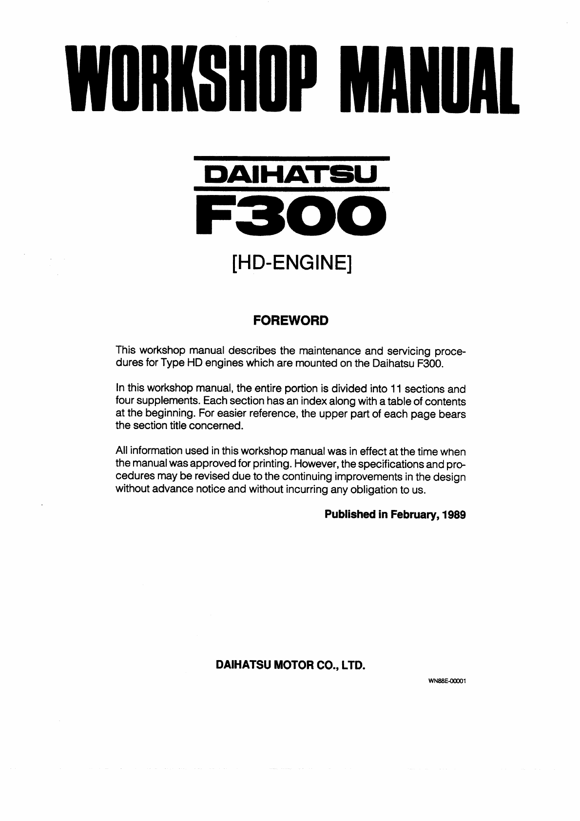 Daihatsu Rocky Wiring Diagram Diagrams Delta Truck 1989 Workshop Manual Pdf Rh Manuals Co Headlight Hijet