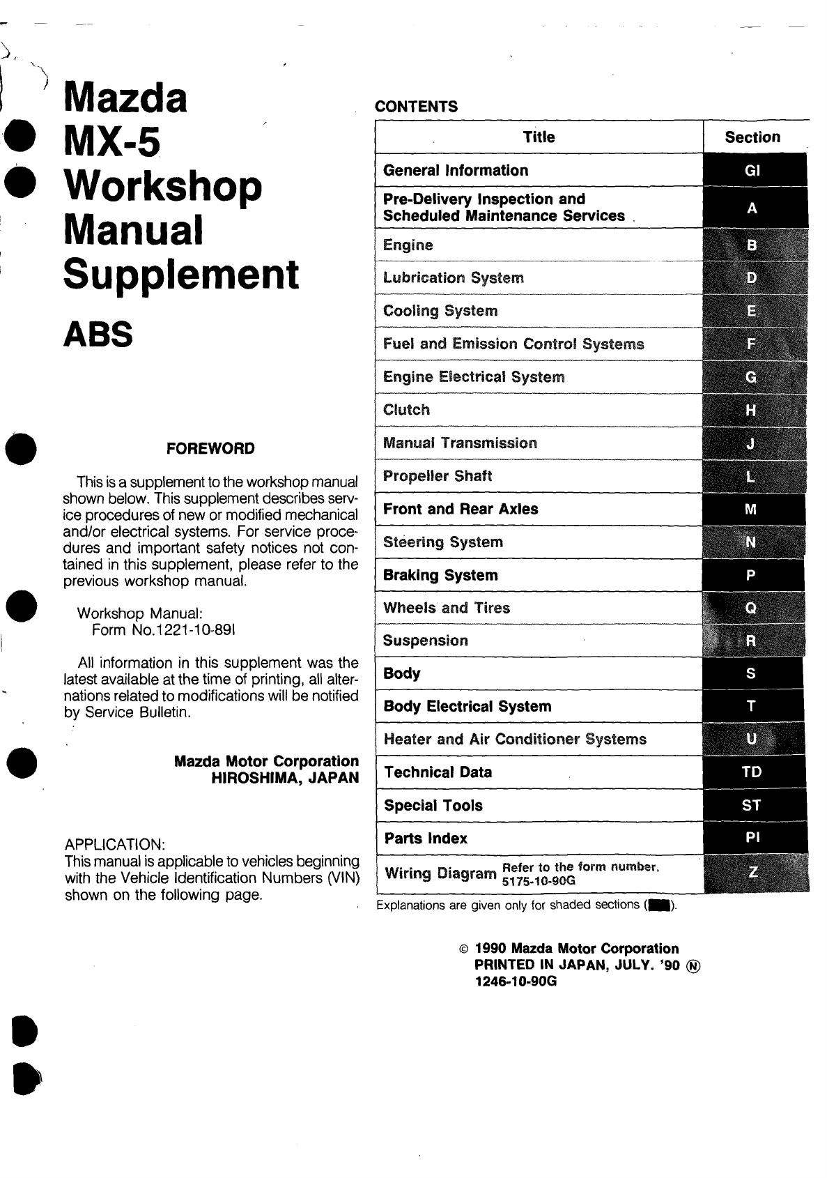 Mazda mx 5 1990 workshop manual supplement pdf cheapraybanclubmaster Image collections
