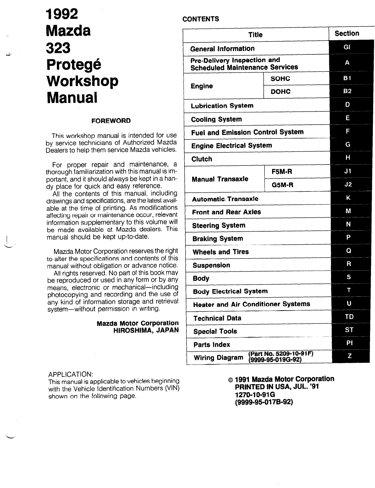 mazda protege 1992 workshop manual pdf rh manuals co