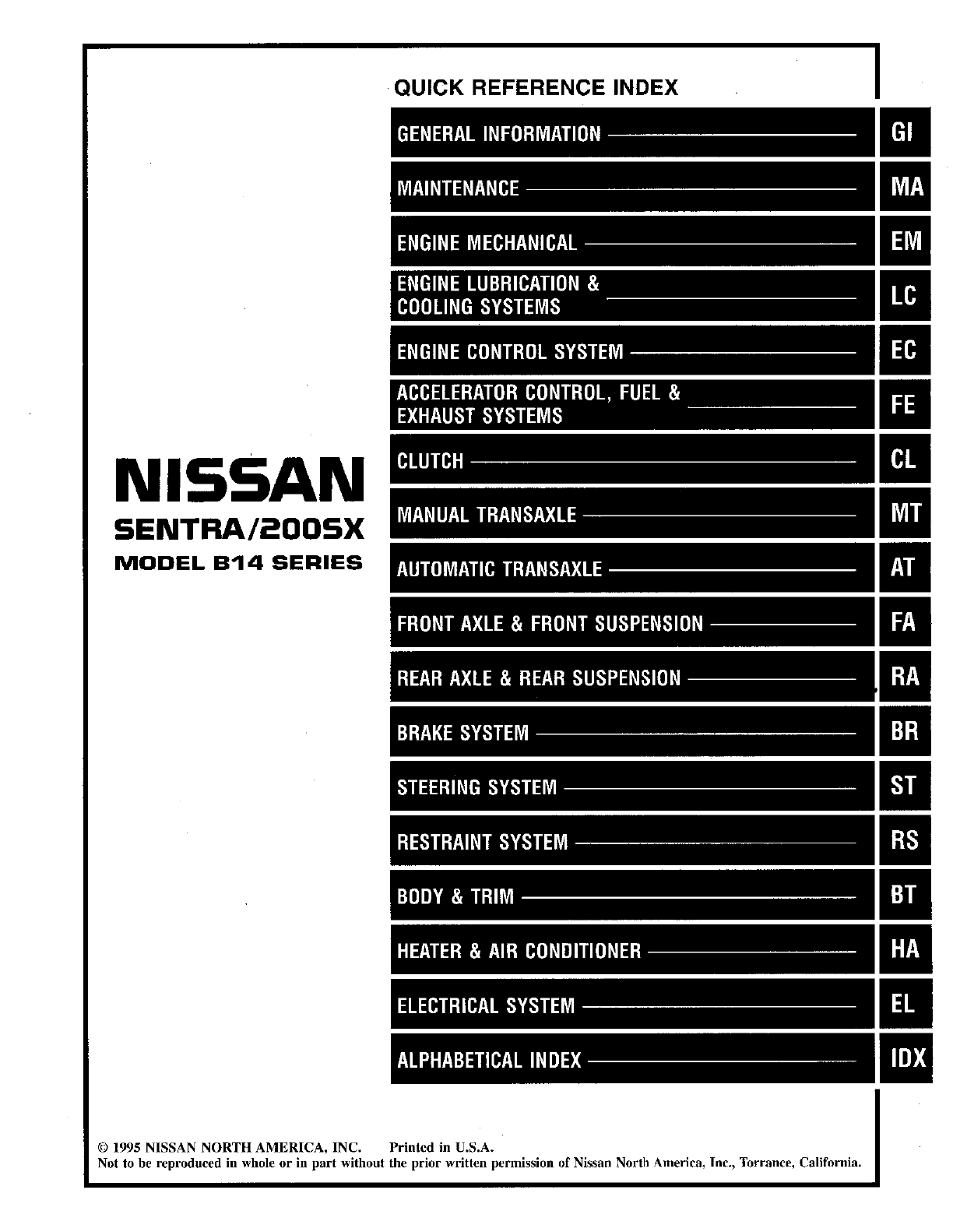 nissan sentra 1996 workshop manual pdf rh manuals co 1997 Nissan Sentra  Airbag Wire 1996 nissan sentra service manual