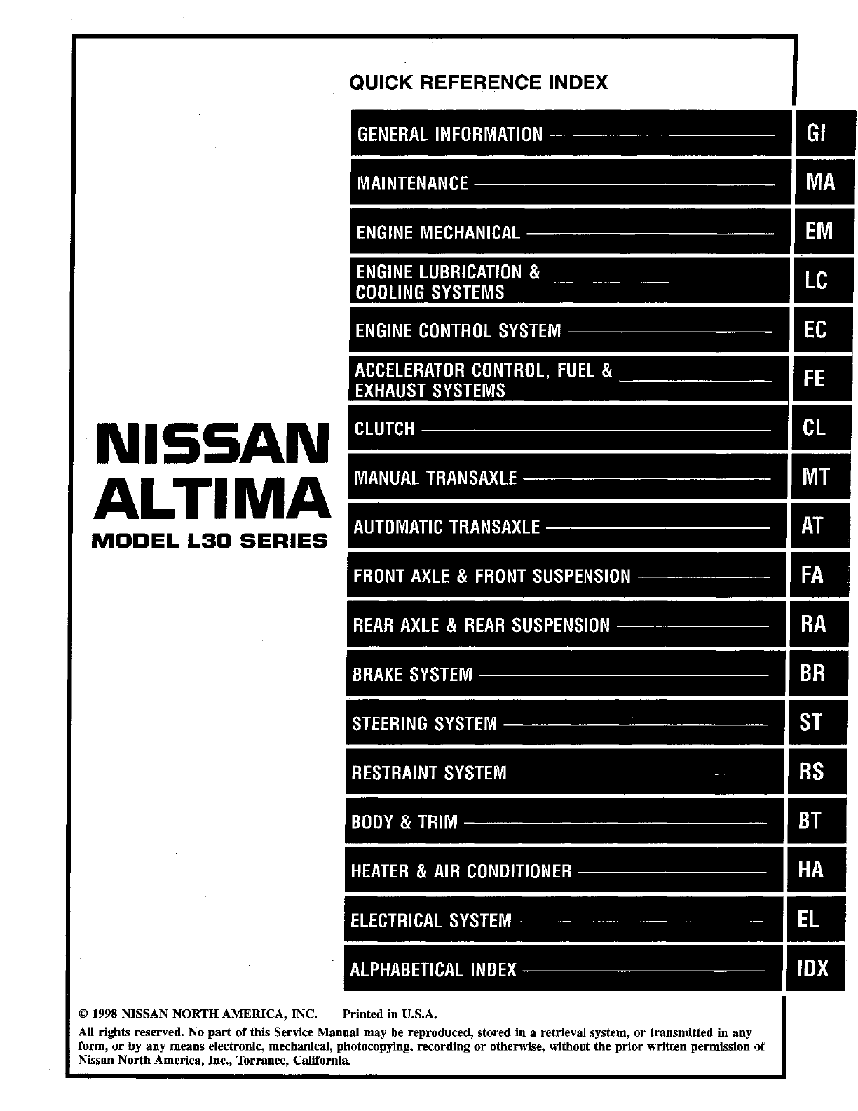 See our other Nissan Altima Manuals: Nissan Altima 1997 Owners Manual