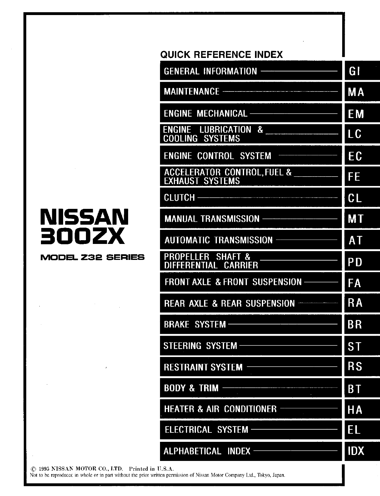 Nissan 300ZX 1996 Workshop Manual PDF
