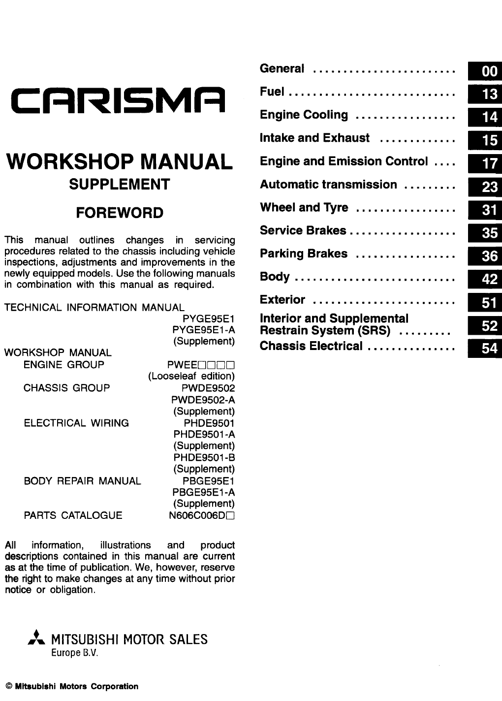 mitsubishi carisma 1998 misc document workshop manual supplement pdf rh manuals co mitsubishi carisma service manual free download mitsubishi carisma service manual free