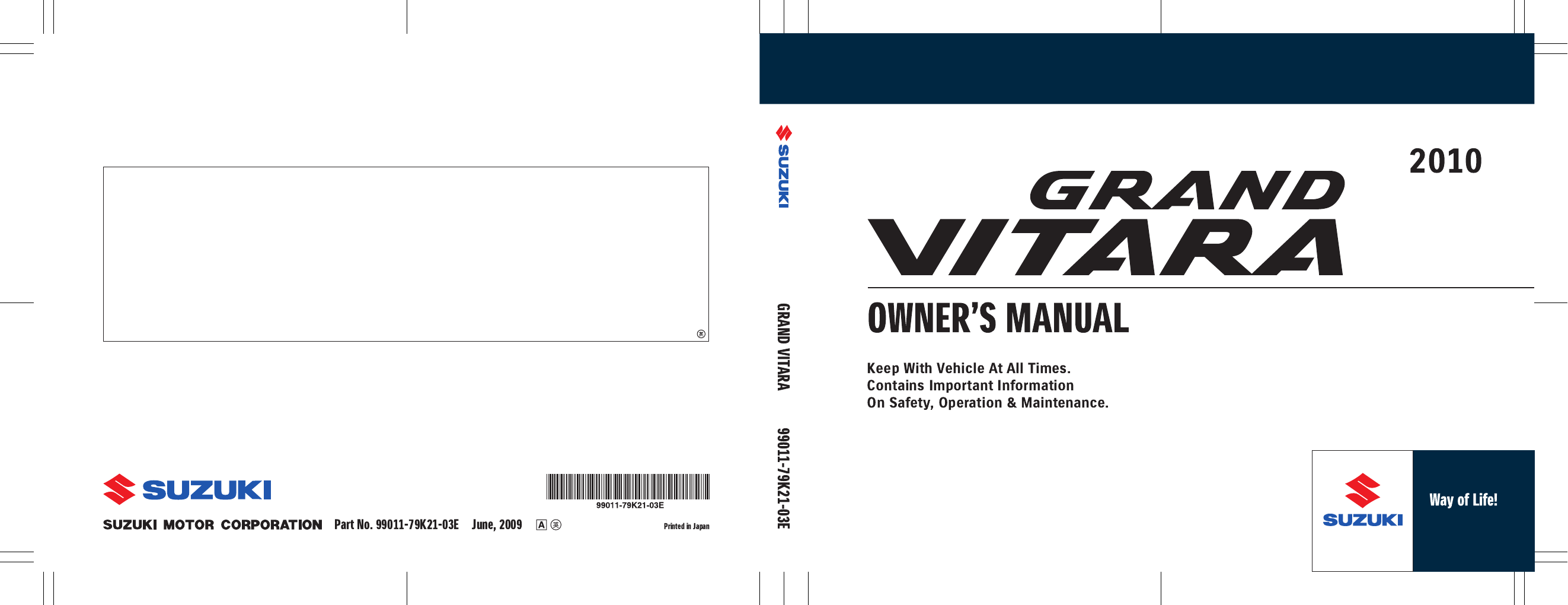 suzuki grand vitara 2010 owners manual pdf rh manuals co grand vitara manual transmission grand vitara manual service