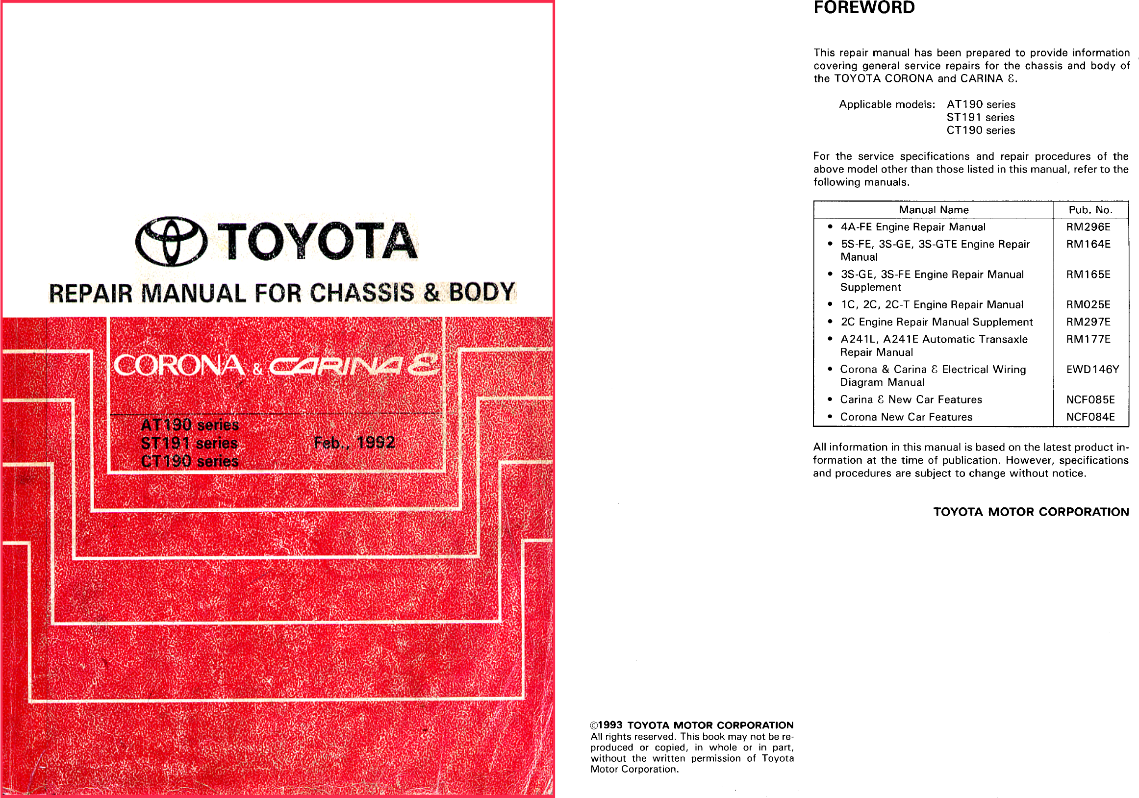 See our other Toyota Carina Manuals: