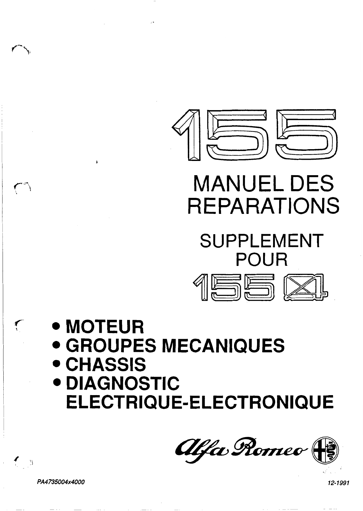 alfa romeo 155 1991 workshop manual q4 supplement pdf rh manuals co alfa romeo 155 service manual Alfa 156