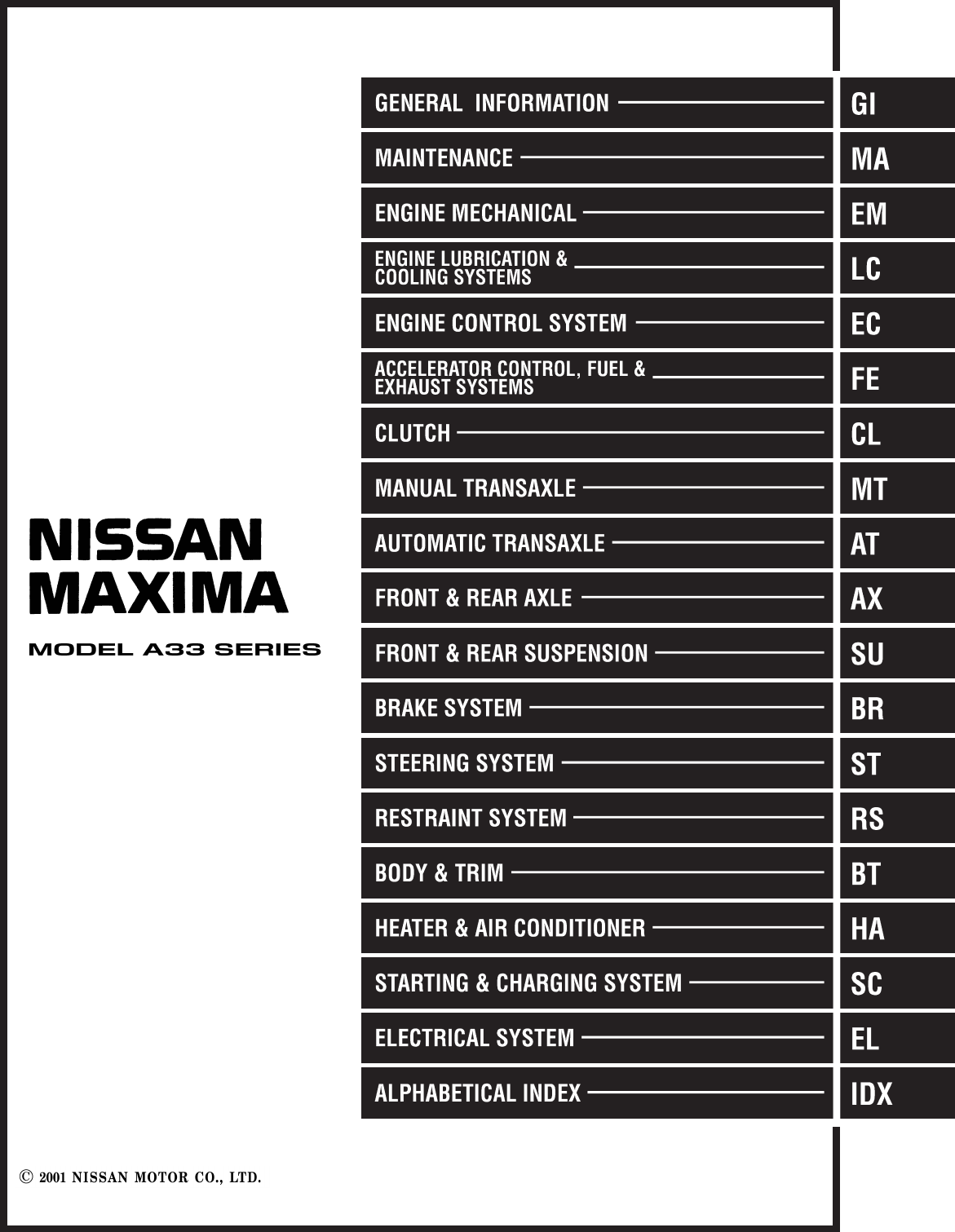 2001 Nissan Maxima Fuse Box Diagram Pdf Schematics Workshop Manual 11 Codes
