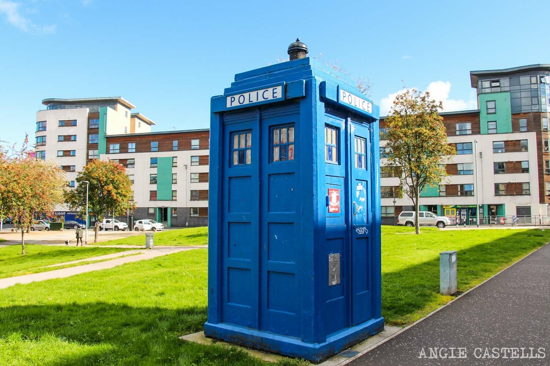 Las cabinas de policía azules de Glasgow