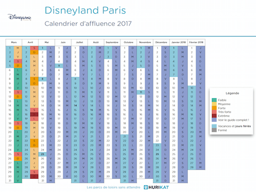 Calendrier d'affluence 2017 Disneyland Paris