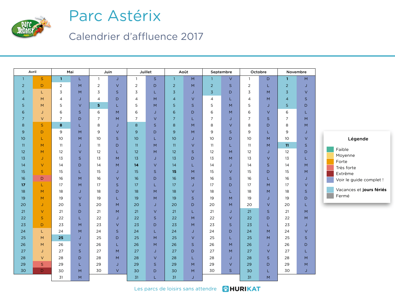 Calendrier d'affluence 2017 Parc Astérix
