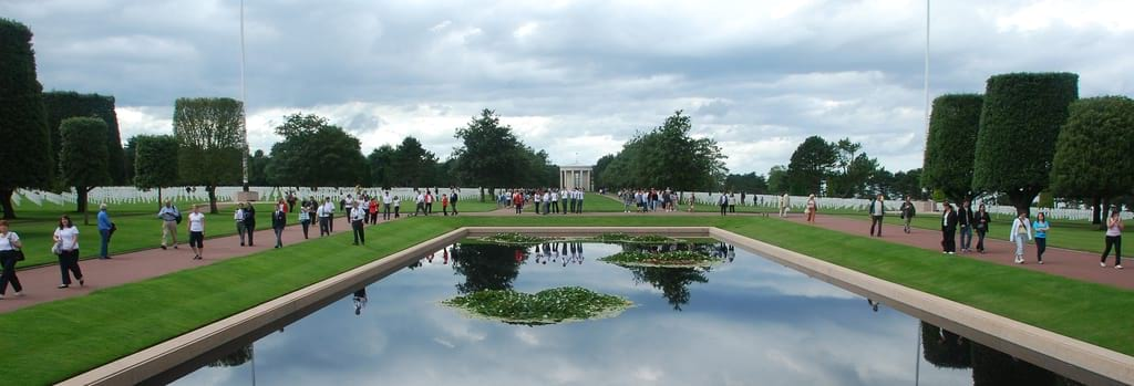 American Cemetery with crowds