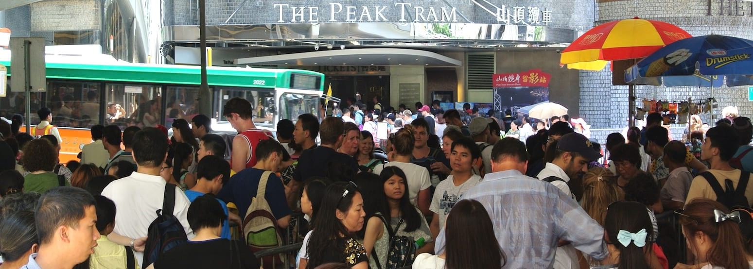 Peak Tram queue in Hong Kong