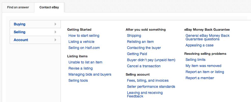 горячая линия компании Ebay